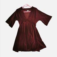 Burgundy Corduroy Skater Dress. Cord. Boohoo. Size 10. Low Cut V Neck.