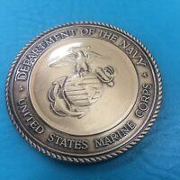 "2 1/2"" Military Service Medallion Marine Corps Flag Case Dash Plaque Gold 2.5"