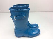 Hunter Original Short Gloss Rain Boots Ocean Blue Size 6 / EU 37