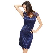 Women Elegant Short Sleeve V-Neck Floral Lace Bodycon Pencil Dress SIZE L