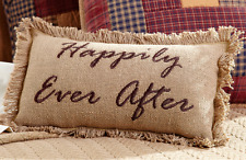 HAPPILY EVER AFTER Burlap Accent Pillow Rustic Embroidered Farmhouse 7x13""