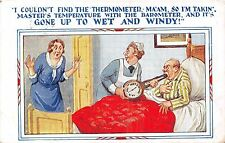 POSTCARD  COMIC   Nurse  Patient  Thermometer  Barometer  Wet  Windy