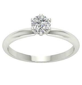 SI1 G 0.60 Ct Solitaire Engagement Ring Round Diamond 14K White Gold 6 Prong Set
