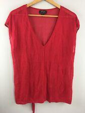 Optimum Knitwear Top M Medium Red Sleeveless Shirt Merino Wool New Zealand