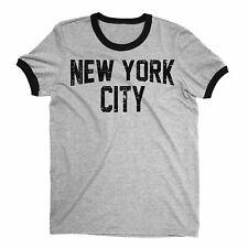 New York City John Lennon Ringer Shirt Heather Gray Distressed Print Mens Tee...