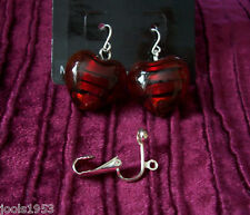 SILVER/RED HEART CLIP ON OR PIERCED DANGLY EARRINGS