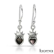 BOMA 925 STERLING SILVER AND MOTHER OF PEARL HOOK DANGLE HEART CROWNED EARRINGS