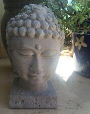 Buddha Head Statue Concrete Grey Religion New Bliss Peace Decor Garden Lawn
