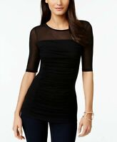 INC Womens Blouse Deep Black Size Small S Ruched Illusion-Yoke Solid $44- 395