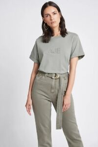 **Aje** Ladies Stone T-Shirt Rolled Cuffs Sleeve Tee Cotton Oversized Tops XXS-M