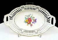 "SCHWARZENHAMMER BAVARIA #SWH4 FLORAL CENTER PIERCED OVAL 8"" BOWL 1946-1949"