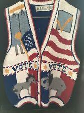VINTAGE  Belle Pointe Sweater -Vest VOTE Democrat Republican American Flag Sz XL