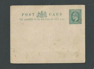 Ca 1905 Gr Britain 1/2 P Gray-Green Message Mint Scott Image Size A66 Has Bends
