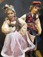 """Pair of Antique Painted Face Cloth Costume Dolls Possibly Russian? 10"""" High"""