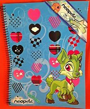 NWT 2008 Neopets Blue Spiral Notebook Virtual Prize Code! Hearts Green Ixi RARE!
