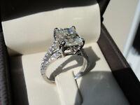 2CT Princess-Cut VVS1 Diamond Solitaire Brilliant Engagement Ring 10k White Gold