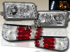81-91 MERCEDES BENZ W126 S-CLASS SEDAN CLEAR LENS HEADLIGHTS w/LED & TAIL LIGHTS