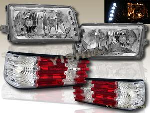 81-91 MERCEDES BENZ W126 S-CLASS SEDAN CLEAR LENS HEADLIGHTS w/LED & TAIL LIGHTS