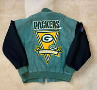 Rare Vintage 90s DSJ NFL Green Bay Packers Leather Wool Varsity Jacket Mens XL
