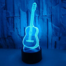 LED 3D illusion Guitar USB Table Night Light Lamp Bedroom Child Gift 7 Color