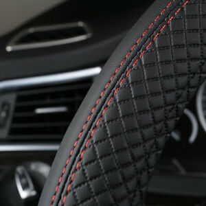 Universal 38cm Car Steering Wheel Cover Sports Leather Anti-Slip Covers Black