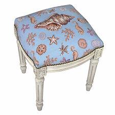 "Stools - ""Newport Beach"" Needlepoint Upholstered Stool - Vanity Seat - Seashells"