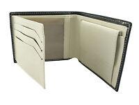 Mens Black Cream Faux Leather -Slim Fold Wallet- Photo ID -6 Card- Coin Bi fold
