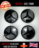 Set of 4 Glossy Black Mercedes Benz Wheel Centre Caps Rare New Rare Luxury