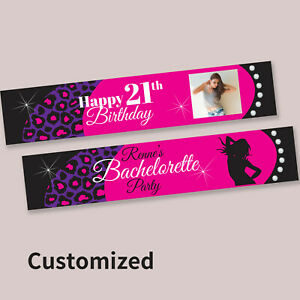 Personalised 21st Happy Birthday Hens Night Pink Fabric Party Banner Decorations
