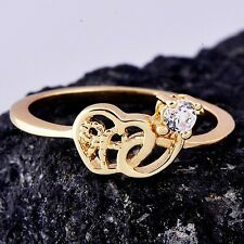 New Chic Yellow Gold Filled Womens Heart Band Ring Cubic Zirconia Ring Size 6