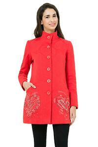 Desigual Woven Red Summer Autumn Long Coat Jacket 10 12 14 16 38 40 42 BNWT £230