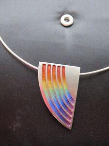 Sheila Fleet Rainbow pendant Large Necklet Necklace Silver enamel Pride Used