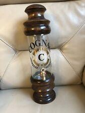 1970s Brandy Decanter Dispenser Cognac French Pub Bar Display Wood Glass Vintage
