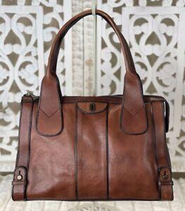 FOSSIL Vintage Reissue Whiskey Brown Leather Satchel Shoulder Handbag Med-Large
