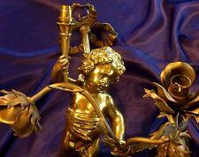 FRENCH ANTIQUE GILDED BRONZE CHANDELIER ANGEL/ CHERUB WITH ROSE BOUQUET TORCH