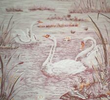 Vintage LARGE PINK SWAN Fabric (46cm x 35cm)