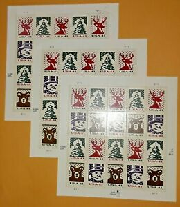 Three Panes x 20 = 60 Of CHRISTMAS KNITS 41¢ US PS Postage Stamps Sc # 4207-4210