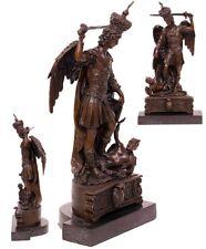 BRONZE Personnage en filigrane Sculpture St Michel maître Satan sign. Milo