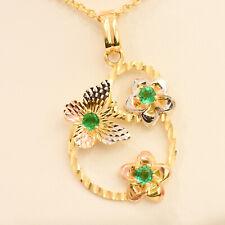 18K Multi-Tone Gold and Colombian Emerald Pendant