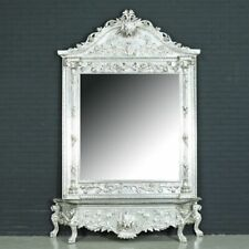 CONSOLE - PALACE SILVER CONSOLE WITH MIRROR IN WOODEN FRAME #MB120