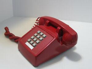 ITT Model 2500 Red Desk Telephone Push Button TouchTone Vintage Phone