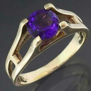 Retro 1970's Solid 9k Yellow GOLD PURPLE AMETHYST SOLITAIRE RING Sz M1/2