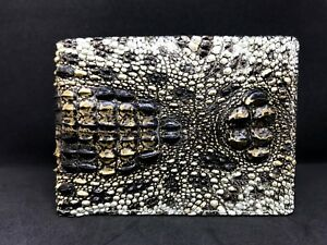 Unique Genuine Alligator Crocodile Skin Leather Men's Bifold Wallet