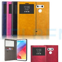 Quick On Off window leather wallet Card flip Shockproof Case cover for LG G6