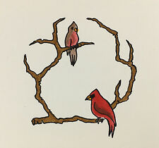 VTG Houston Hospice Original hand painted Red Cardinal Bird cards 8 cards 9 env