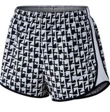NIKE Women's Dri Tempo Cadence Printed Shorts Gray/ Black 831187-042 Size Large