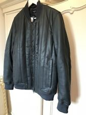 Paul Smith Men's Unique Leather Puffer Quilted Bomber Warm Jacket Sz L W/t
