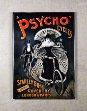 Psycho Cycles Fridge Magnet - Cycling Bicycle Advertising Art from 1898 London