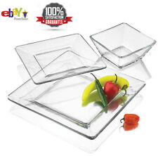 12 Piece Square Dinnerware Glass Clear Dishes Salad Plate Bowl Kitchen Set-NEW