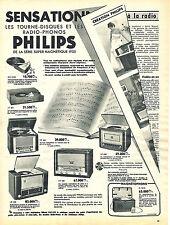 PUBLICITE ADVERTISING 124  1954  PHILIPS   tourne-disques & radio-phones